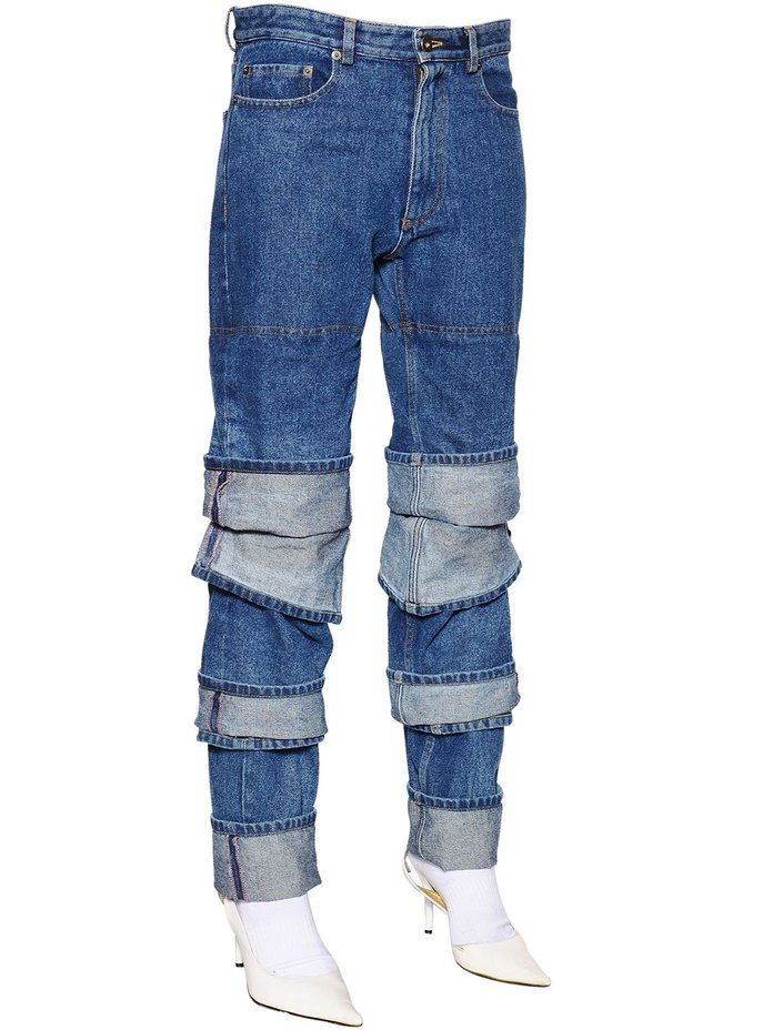 Layered Cuffs Cotton Denim Jeans