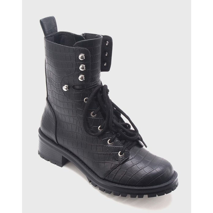 kto What Wear Violet Croc Combat Boots
