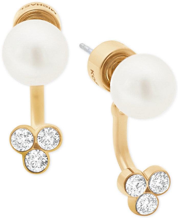 Michael Kors Imitation Pearl & Crystal Front-Back Earrings