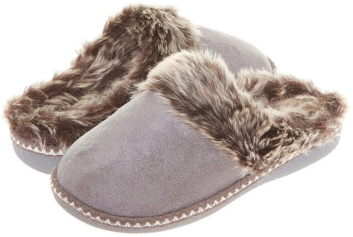 floopy Womens Indoor Outdoor Aztec Two Tone Fur Lined Clog Slipper W/Memory Foam