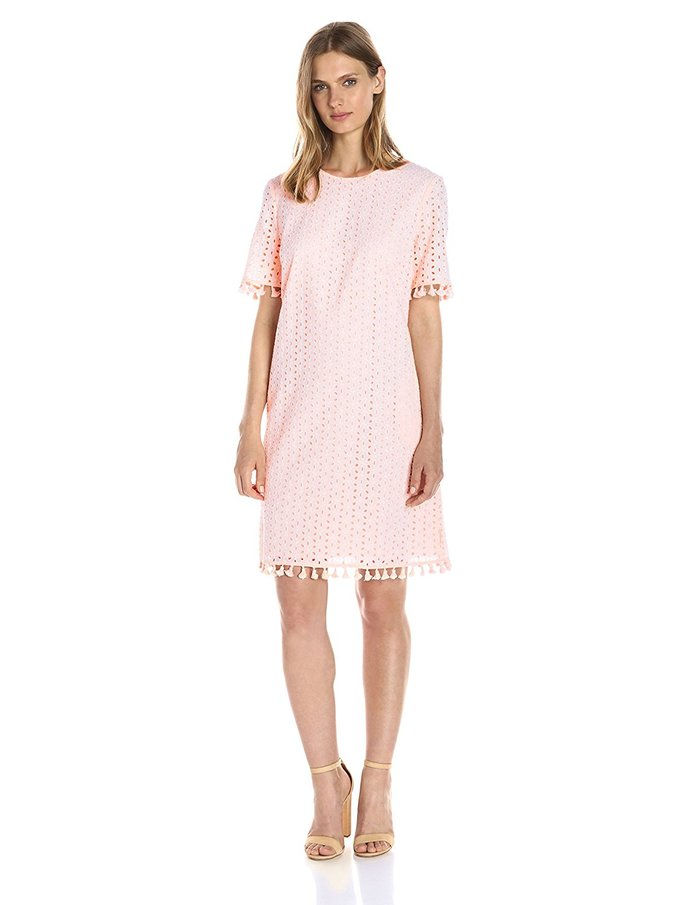Lark & Ro. Short-Sleeve Eyelet Tassel Shift Dress