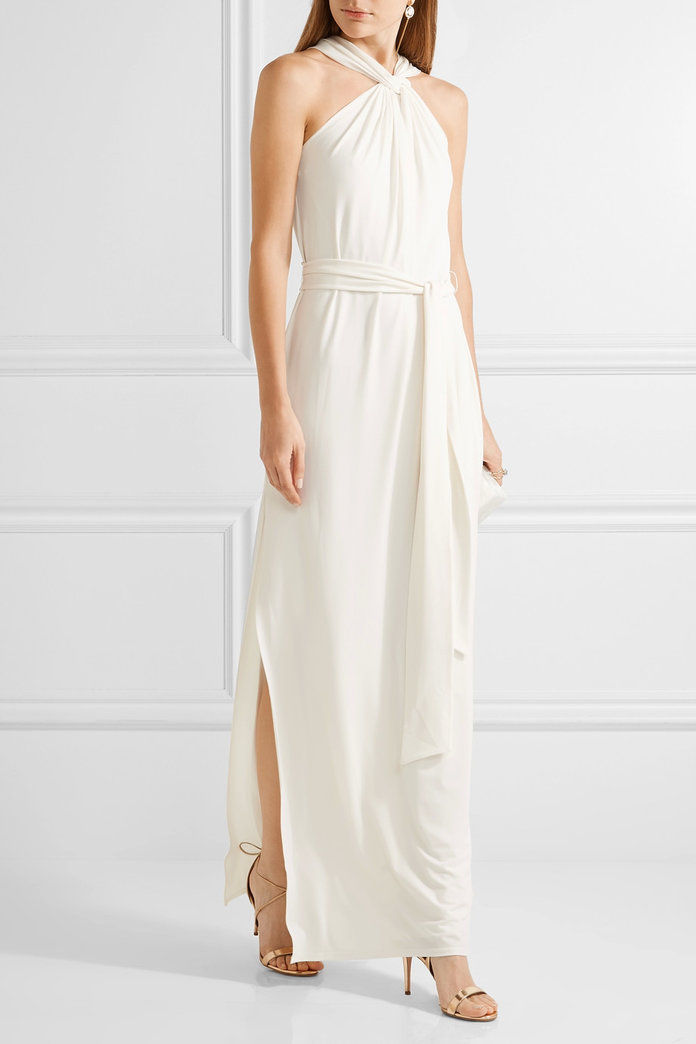 Twist-Front Stretch Cady Gown