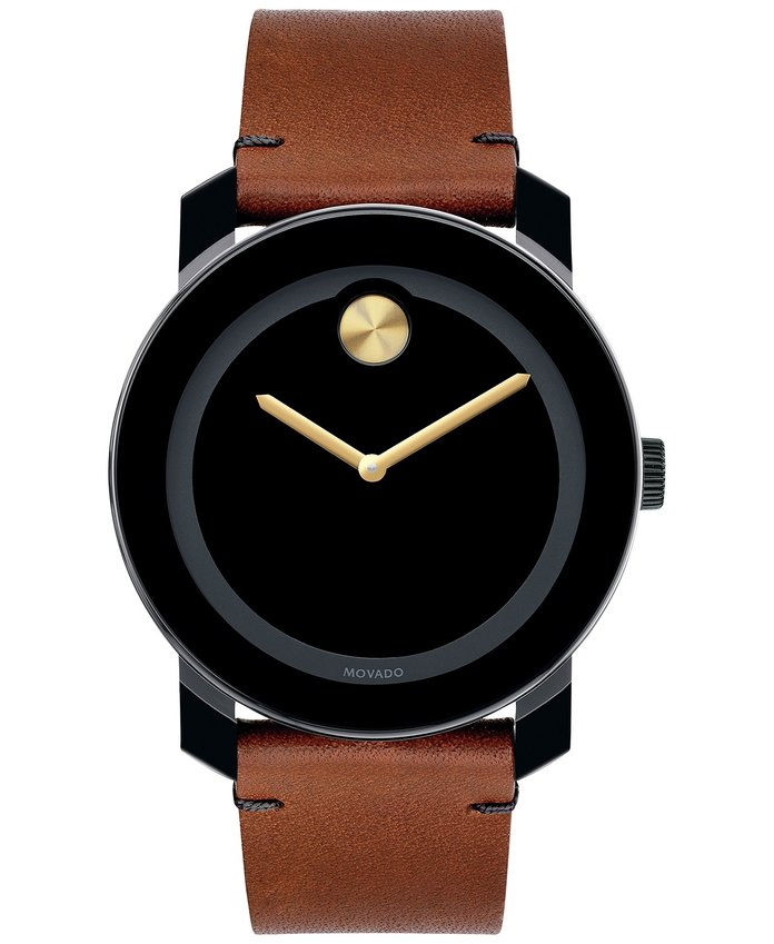 Unisex Swiss Bold Rustic Brown Leather Strap Watch