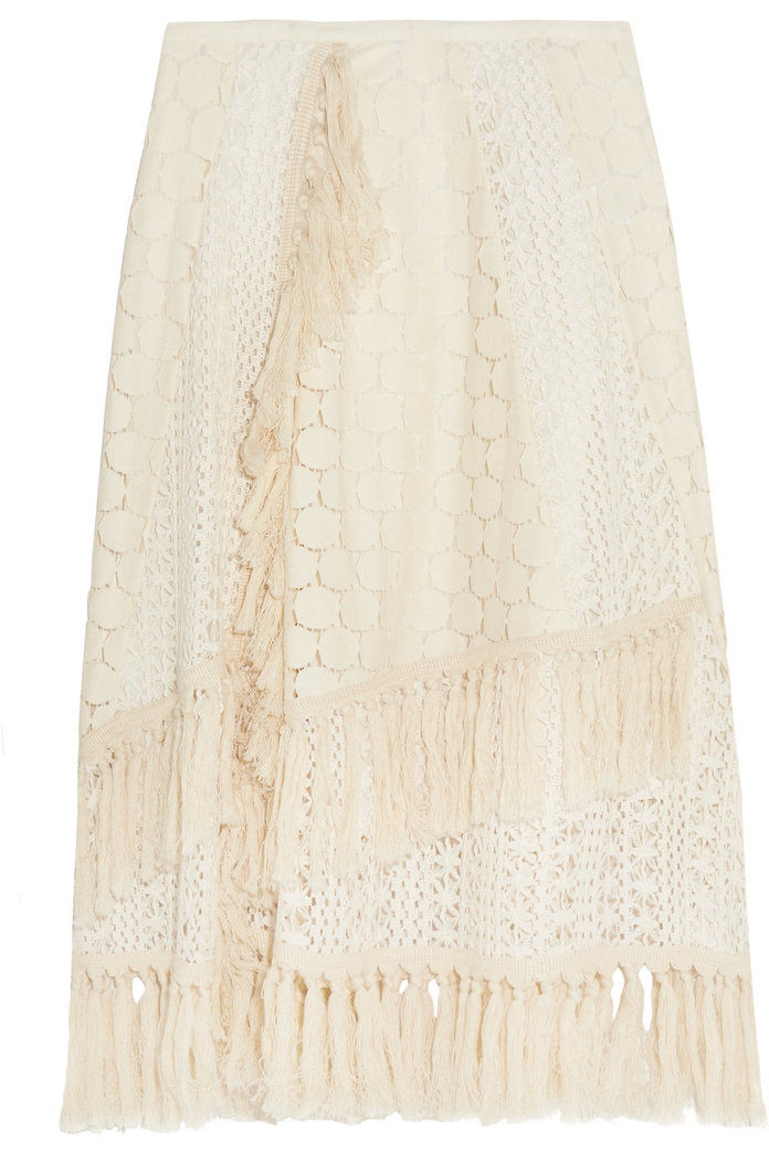 LIHAT BY CHLOÉ Tasseled crocheted lace skirt
