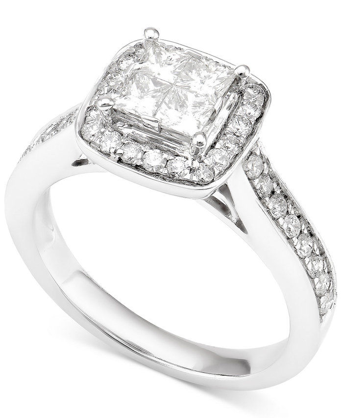 macy's Diamond Quad Cluster Halo Engagement Ring