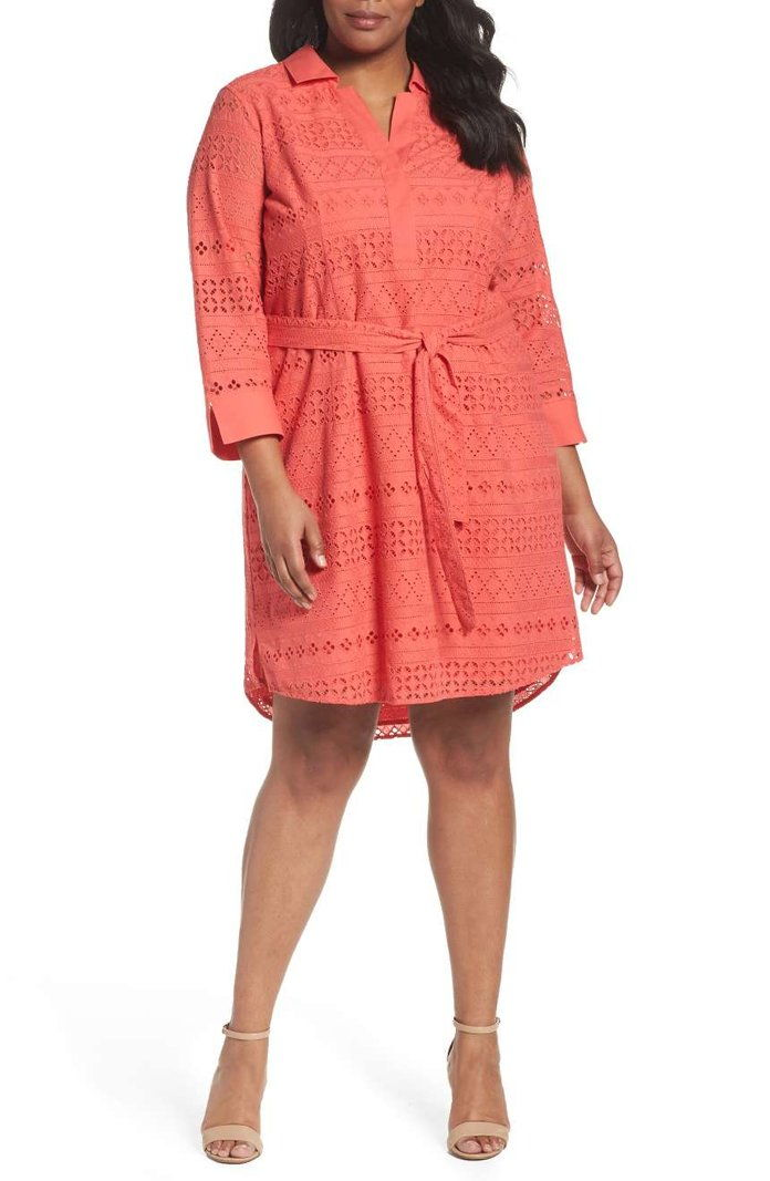 FOXCROFT Taylor Eyelet Shirtdress