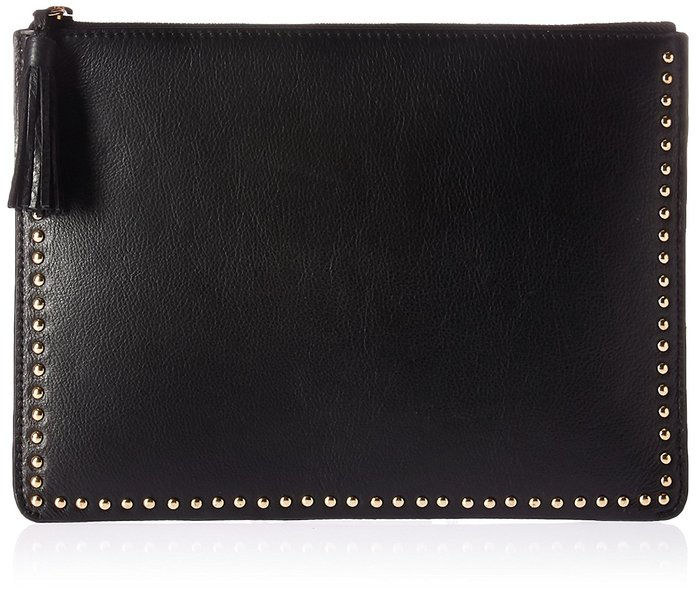 Fix Cora Studded Leather Flat Clutch with Tasseled Zipper