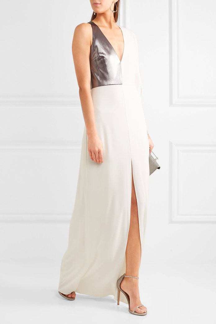 Lamé-paneled stretch-crepe gown