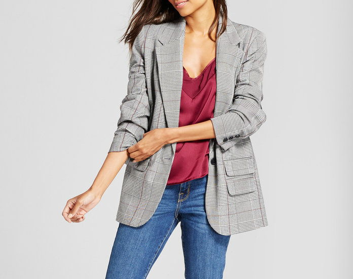 New Day Plaid Boyfriend Blazer