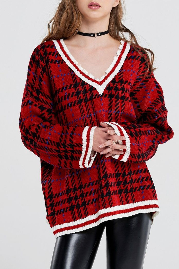 Storets Kate Tartan Check Distressed Pullover