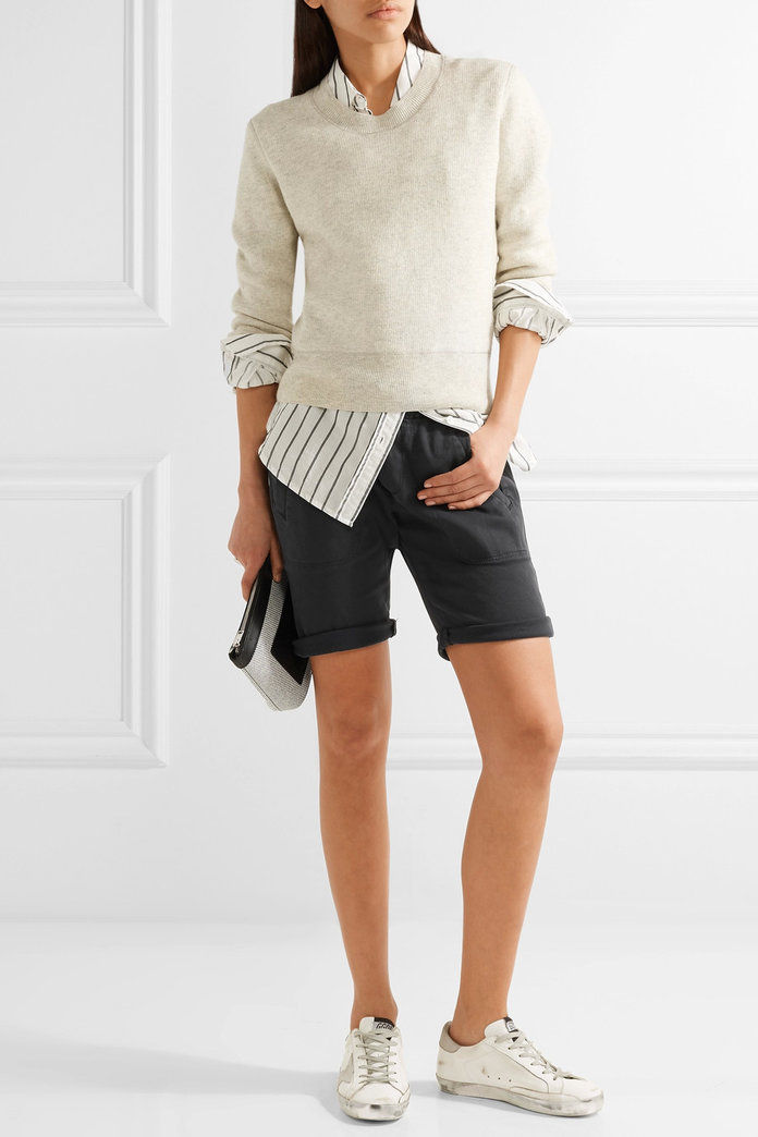 Allungare cotton and modal-blend twill shorts
