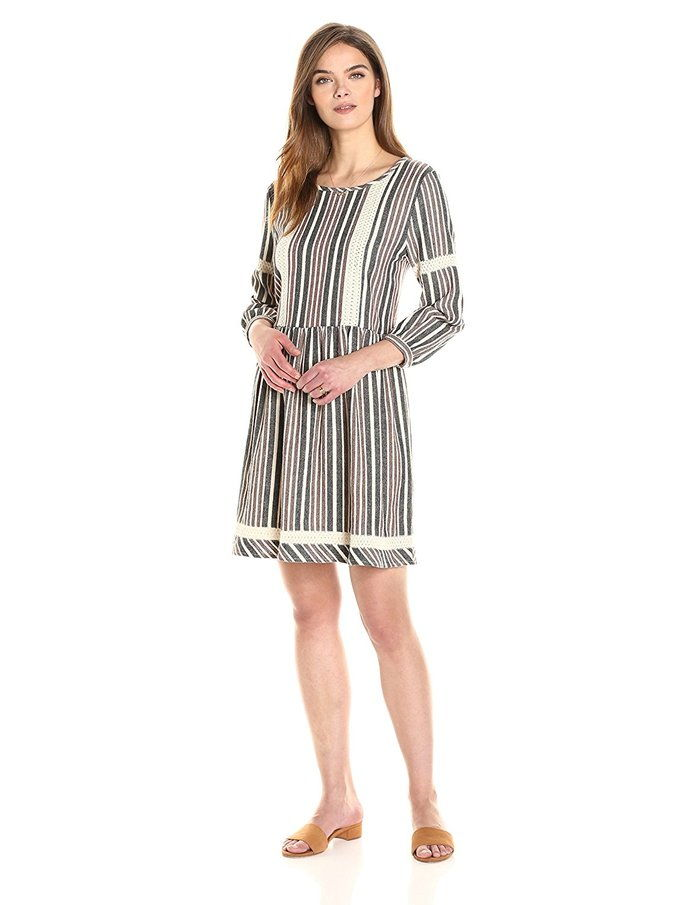 Abbie 3/4 Sleeve Striped Jacquard Dropwaist Dress