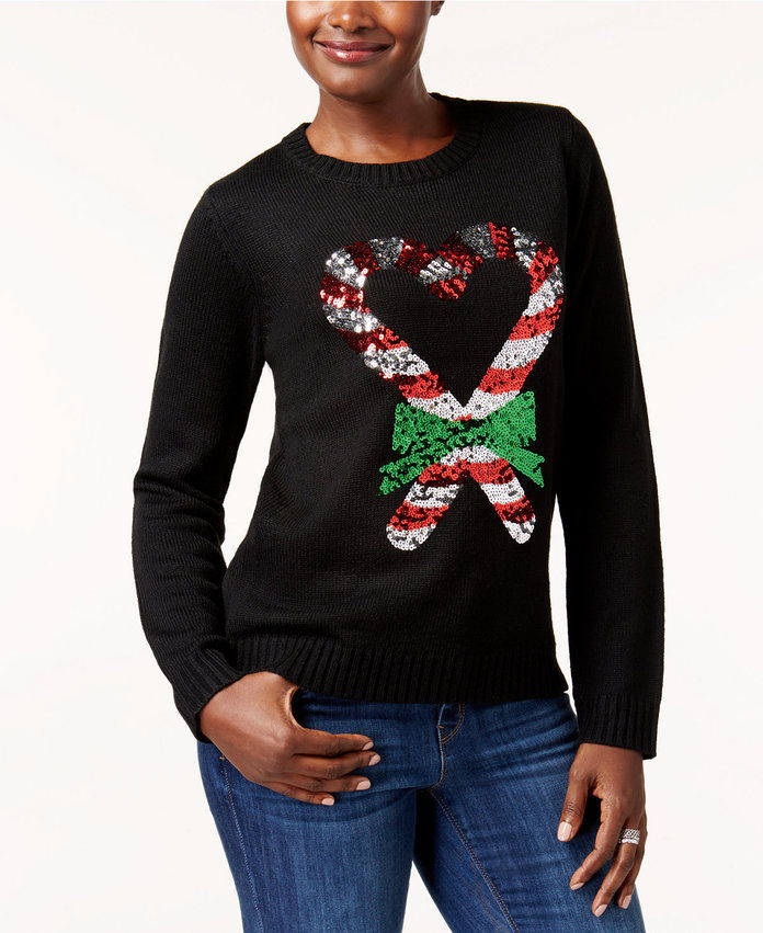 karen Scott Candy Cane Holiday Sweater