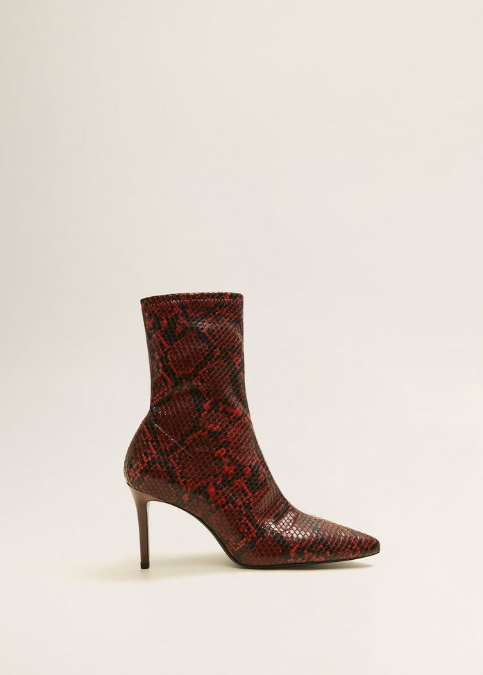 Snake-Efect Ankle Boots