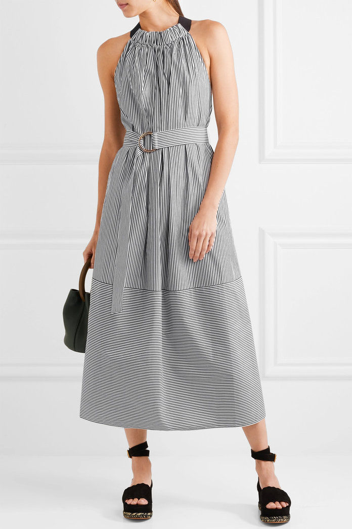 pruhovaný cotton-poplin midi dress