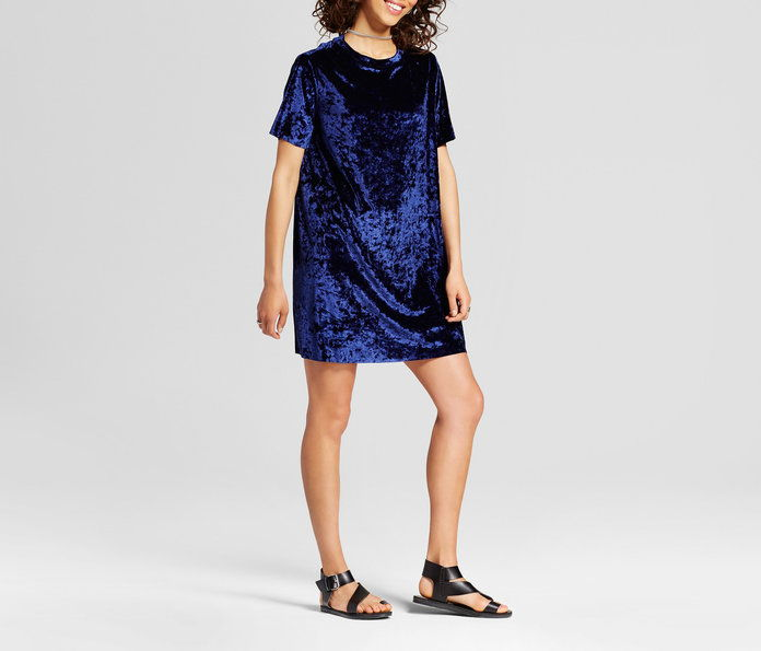 Xhiliration Crushed Velvet T-Shirt Dress