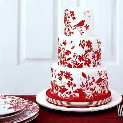 rosso and white wedding cake