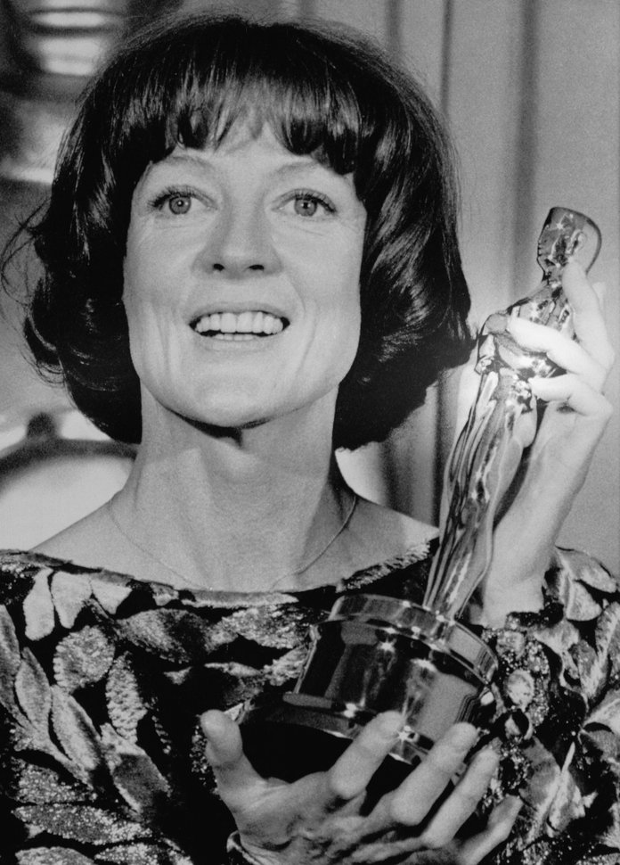 Maggie Smith Holds Oscar Award