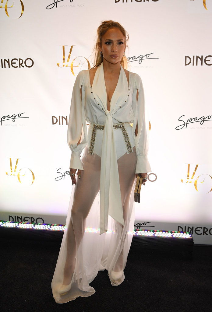 Jennifer Lopez Celebrates Release Of New Single 'Dinero' With Wolfgang Puck During Sneak Peak Of The New Spago At Bellagio