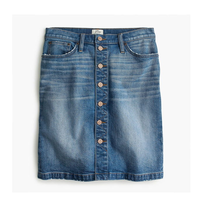 J Crew Faded Button Front Mini Skirt