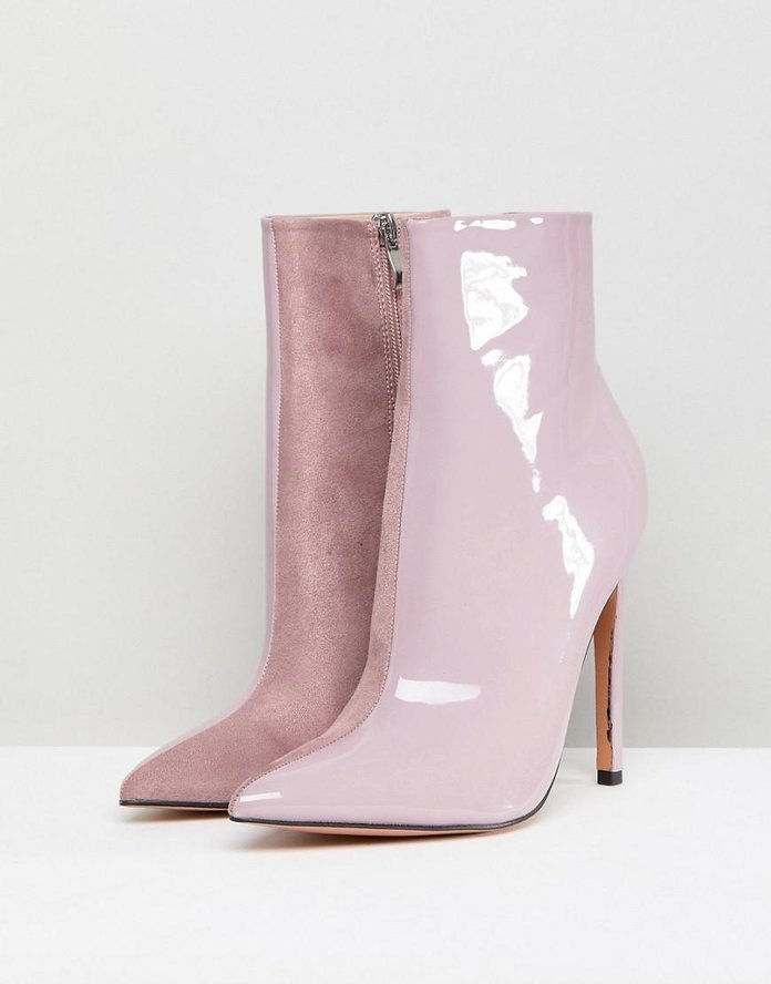 Yuri Lilac Contrast Stiletto Heeled Ankle Boots