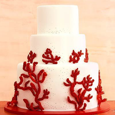 Torta adorned with red coral