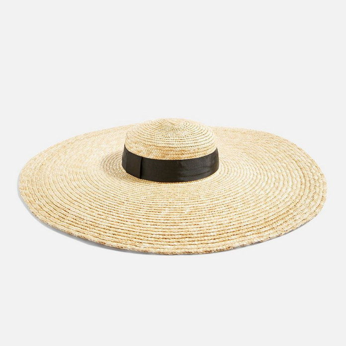 Topshop Wide Brim Straw Hat with Black Ribbon