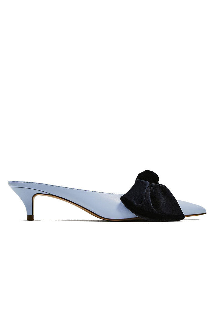 Zara Blue Mules with Bow